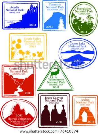 Retro Set of Fun USA National Park Passport Stamps Vector Illustration - stock vector