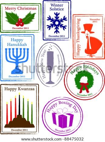 Retro Set of Fun Winter Holiday Passport Stamps Vector Illustration - stock vector