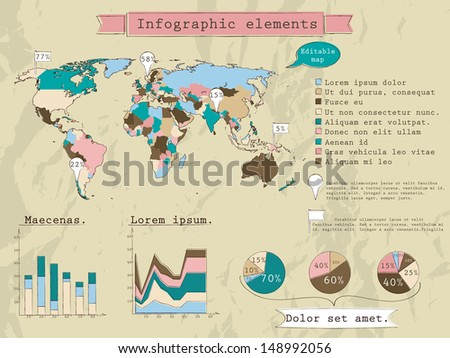 Retro set of infographic elements. Vector illustration EPS8