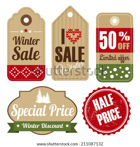 Retro set of winter christmas vintage sale and quality labels, cardboard tags, vector illustration