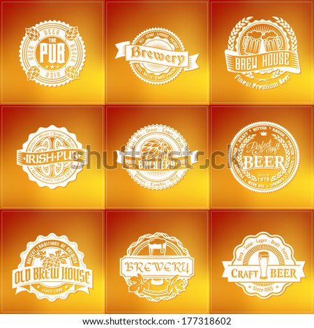 Retro set styled vector label of beer. Good as a template of advertisement. - stock vector