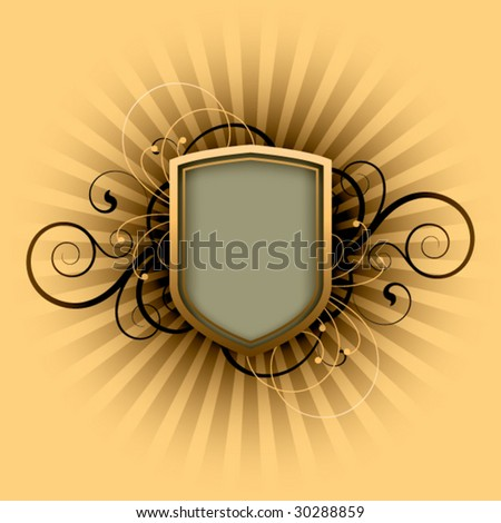 retro shield on a floral background - stock vector
