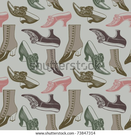 Retro shoes pattern - stock vector