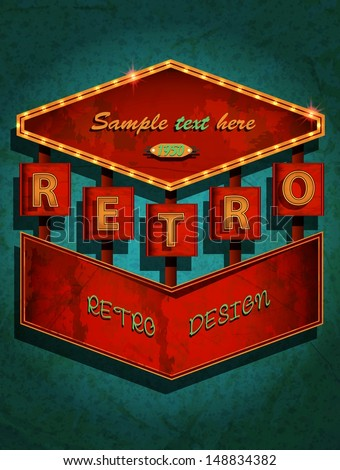 retro sign - signboard / Vector Poster - stock vector