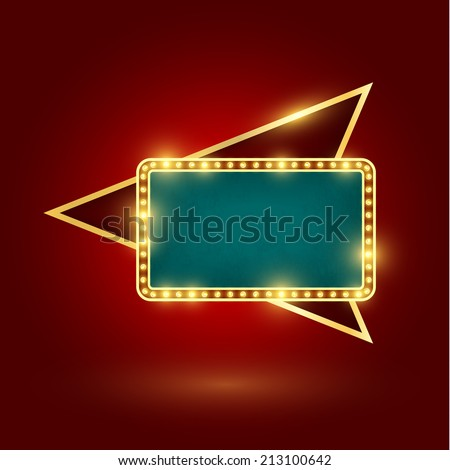 retro sign with realistic lamps - stock vector