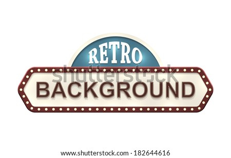 Retro sign with two copyspaces isolated on white. EPS10 vector image. - stock vector