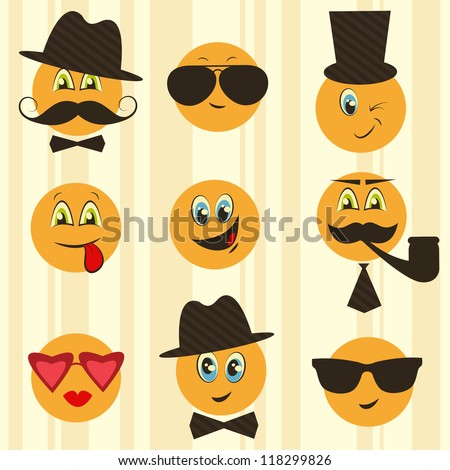 Retro smileys - stock vector