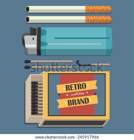 retro smoking set - stock vector