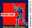 Retro Space Label, vector background with an armoured marine in a comic book style - stock photo