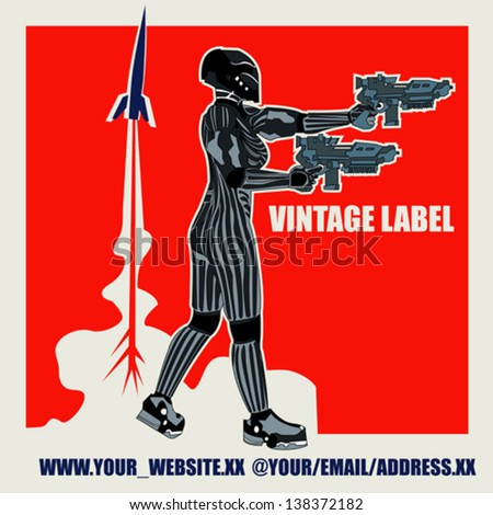 Retro Space Label, vector background with an armoured marine in a comic book style - stock vector