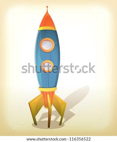 Retro Spaceship Landing/ Illustration of a vintage design cartoon spaceship landing on an elegant retro frame background with little rocks on some lunar or martian ground - stock vector