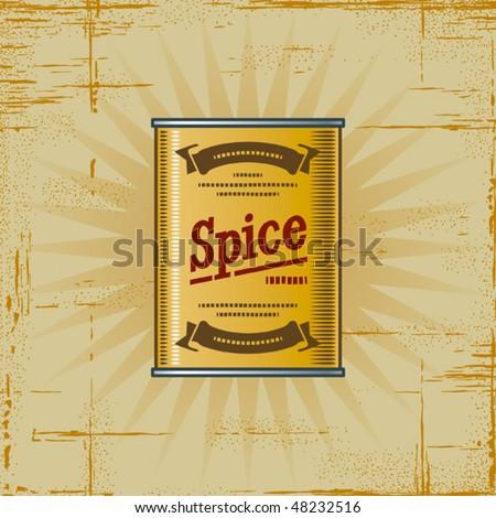 Retro Spice Can. Vector - stock vector