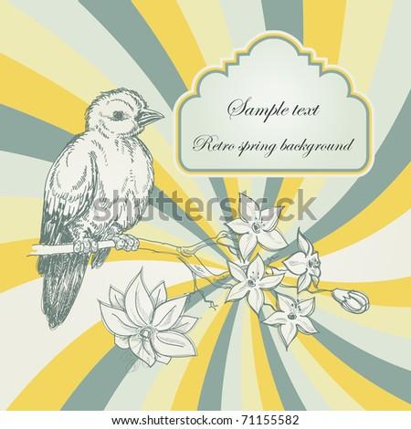 Retro spring background; birdie and jasmin branch - stock vector