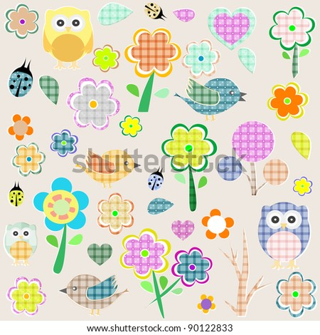 Retro spring nature and animal elements. vector background - stock vector