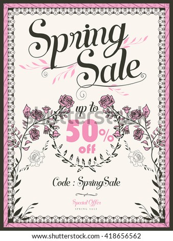 retro spring sale poster template design with pink roses  - stock vector