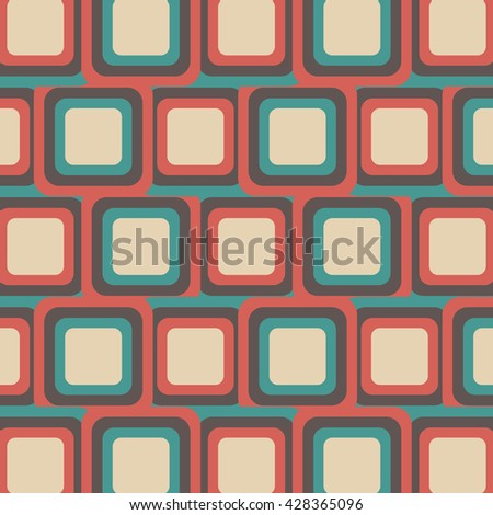 retro square pattern, vintage style - stock vector