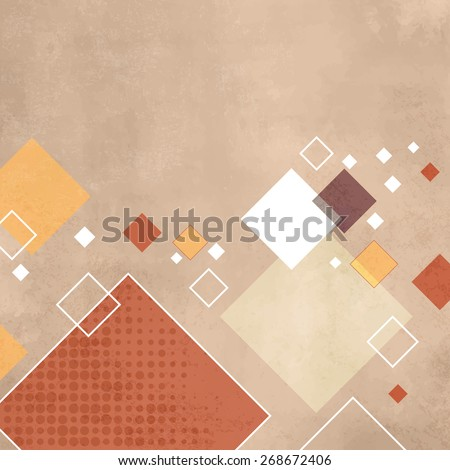Retro squares - geometric pattern - abstract vintage rhombus background - stock vector