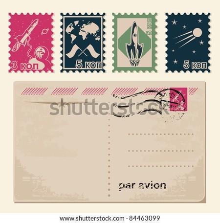 retro stamps and retro postcard - stock vector