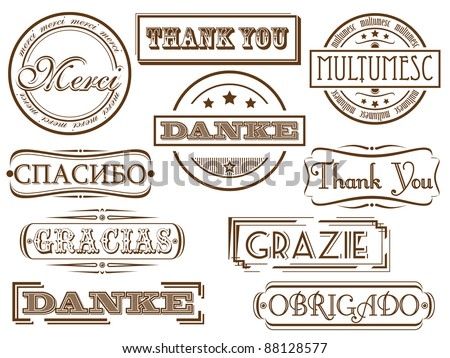 Retro stamps. Thank you in different languages. - stock vector
