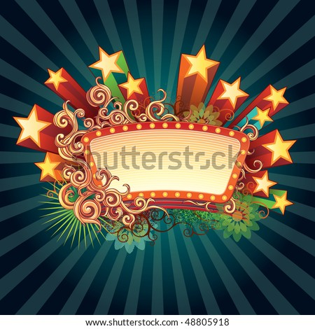 Retro star sign. Mix of computer graphics with hand drawn elements and spray paint. All elements are separate objects, grouped and layered. - stock vector