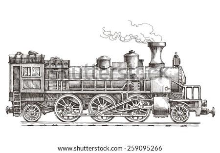 retro steam locomotive vector logo design template. train or railway transportation icon. - stock vector