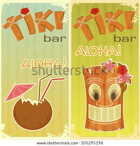 retro stickers for Tiki bars, Hawaiian party, two postcards in vintage style with hand drawn text Aloha and Tiki - vector illustration - stock vector