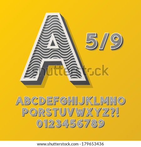 Retro Stripe Style 5/9 Alphabet and Numbers, Eps 10 Vector Editable, No Clipping Masks - stock vector