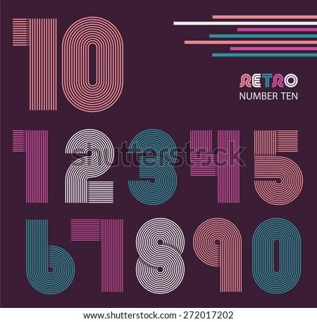 Retro stripes funky numbers set,trendy elegant retro style design. Vector design - stock vector