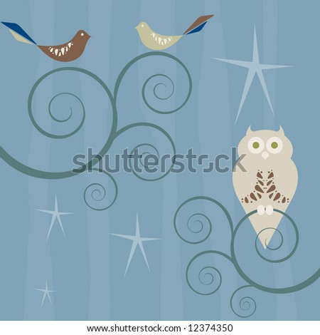 Retro style birds and owl on swirly branches under a starry sky; striped background pattern - stock vector