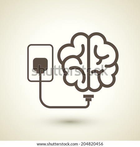 retro style brain plugged in icon isolated on beige background   - stock vector