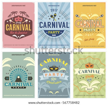 Retro Style Carnival Posters Set With Masquerade Masks Ferris Wheel And More Isolated