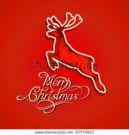 Retro style, christmas and new year - winter, abstract background and red, colorful season greeting card with text and vintage, creative graphic deer (pattern design and abstract decoration) EPS10. - stock vector