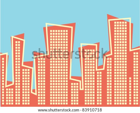 Retro Style Cityscape - Vector Illustration.  High Resolution JPEG also available. - stock vector