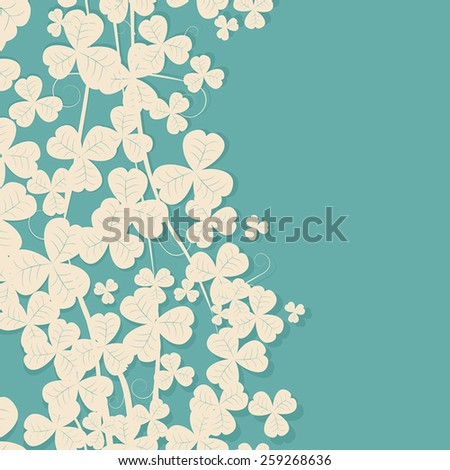 Retro style clover card with copy space - stock vector