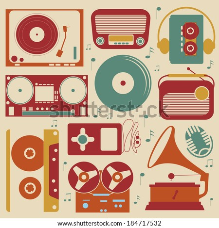 Retro style collection of musical related items - stock vector