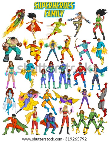 Retro style comics Superfamily showing power and strength - stock vector