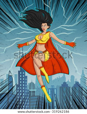 Retro style comics Superwoman showing power and strength - stock vector