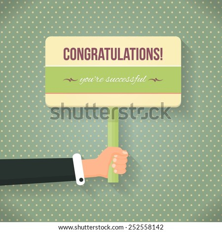 Retro Style Congratulations Lettering Signboard Hold Hand Flat Vector Design - stock vector