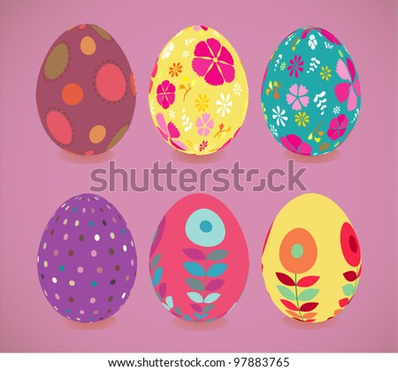Retro style Easter eggs. Vector Eps.8 file.