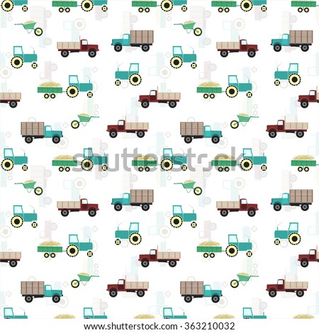 Retro style farming illustration. Seamless pattern isolated on white. EPS 10