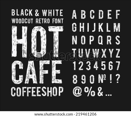 retro style font Woodcut - stock vector