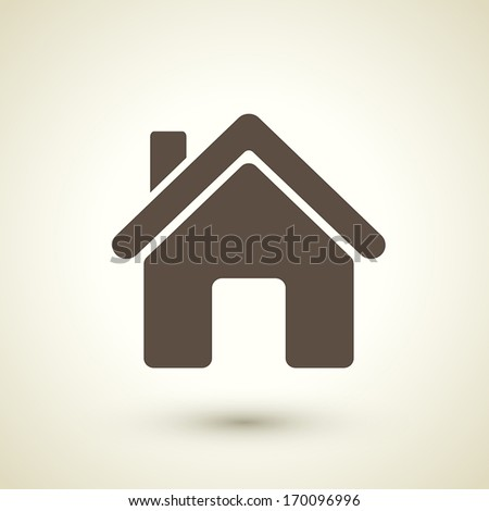 retro style home icon isolated on brown background - stock vector