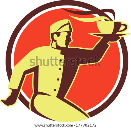 Retro style illustration of a waiter serving carrying hot coffee cup on one hand running viewed from side set inside circle done in retro style. - stock vector