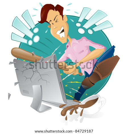 Retro style illustration of an angry frustrated man destroying his computer! - stock vector