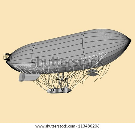 retro-style illustration of old vintage zeppelin, fully hand drawn - stock vector