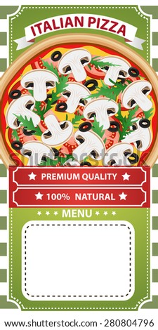 Retro style italian pizza menu poster. Vector illustration can be used for food menu or posters design, prints, web and other crafts. - stock vector