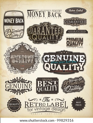 Retro style label collection for vintage design   Old paper texture background - stock vector