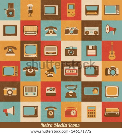 Retro Style Media Icons | Vintage Elements | Nostalgic Design | Good Old Days Feeling | Hipster Trend | Vector Set  - stock vector