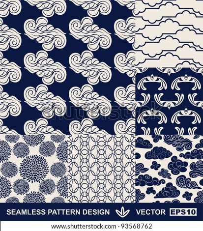 Retro style monochrome vector seamless fabric, pattern, wallpaper, wrapping and background set with vintage clouds, birds, flowers and geometric ornaments for decoration and design - stock vector