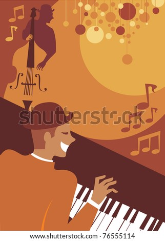 Retro style musicians playing jazz - stock vector